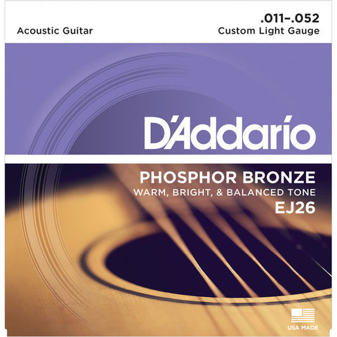 D'Addario EJ26 Phosphor Bronze Acoustic Guitar Strings Custom Light 11-52 - Worcester Guitar Centre Guitar Shop