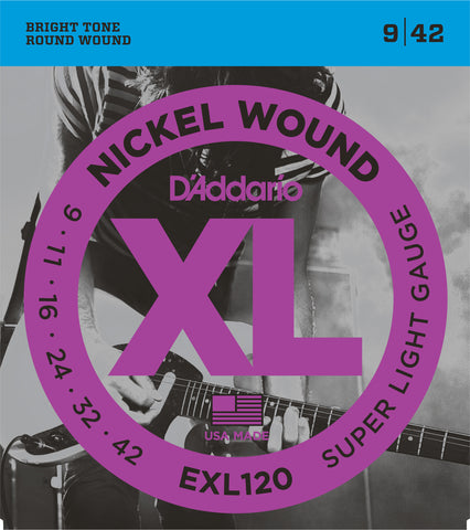 D'Addario EXL120 Nickel Wound Electric Guitar Strings Super Light 9-42 - Worcester Guitar Centre Guitar Shop