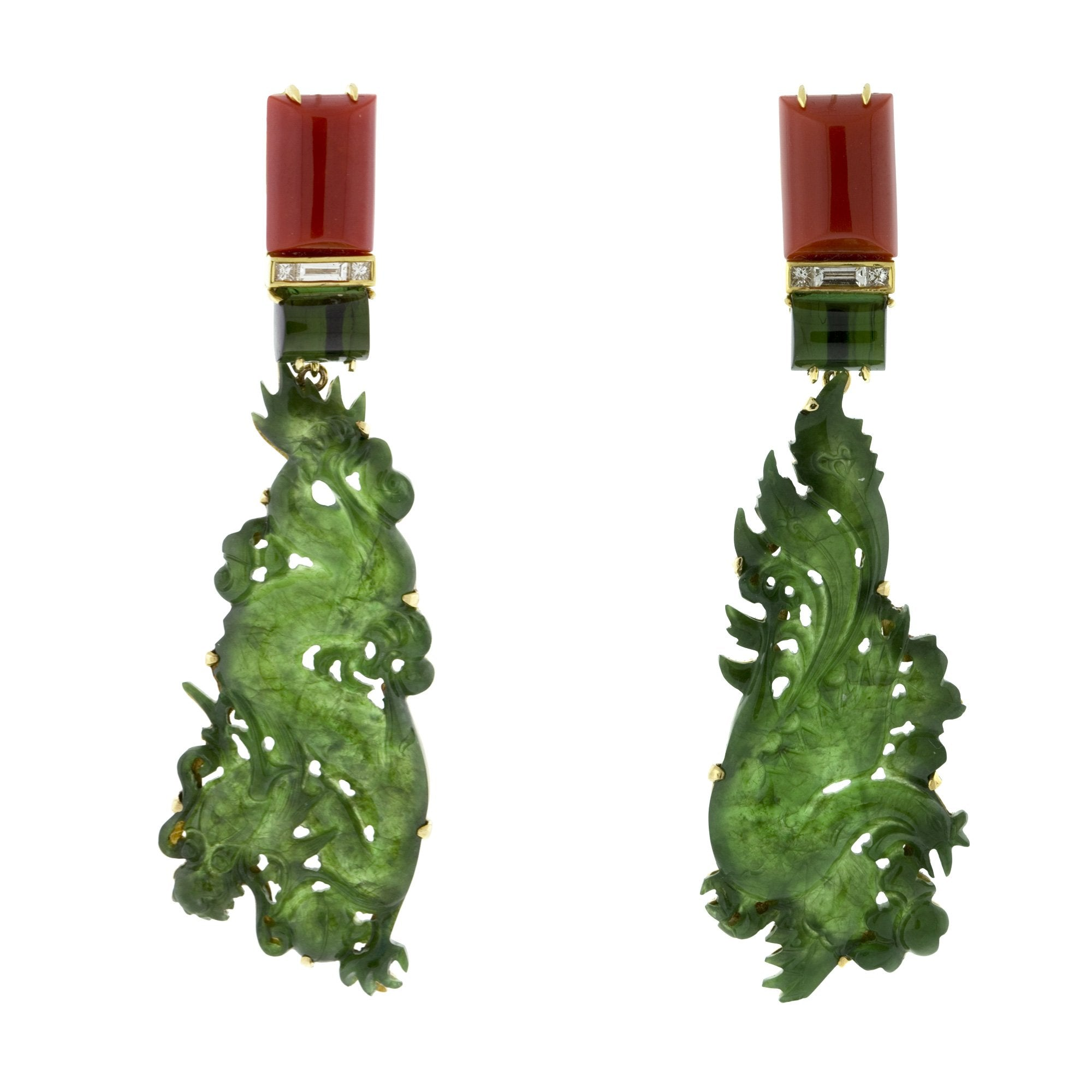 DRAGON VI jade earrings