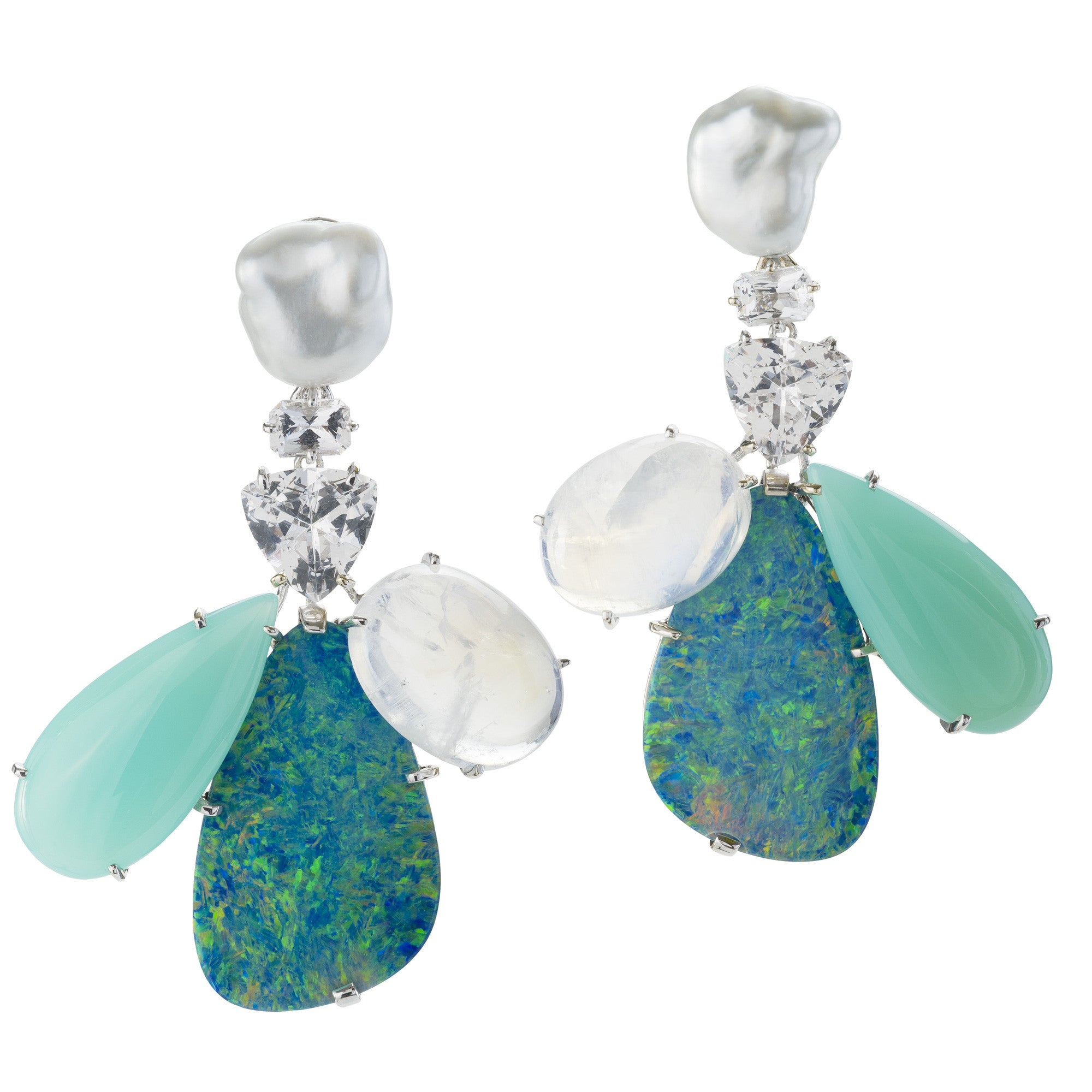 OVERLAP V opal earrings