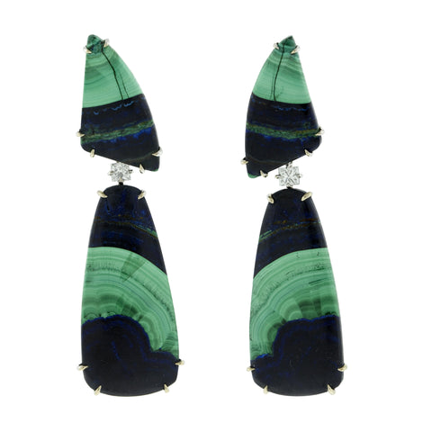 Chic iii malachite diamond earrings