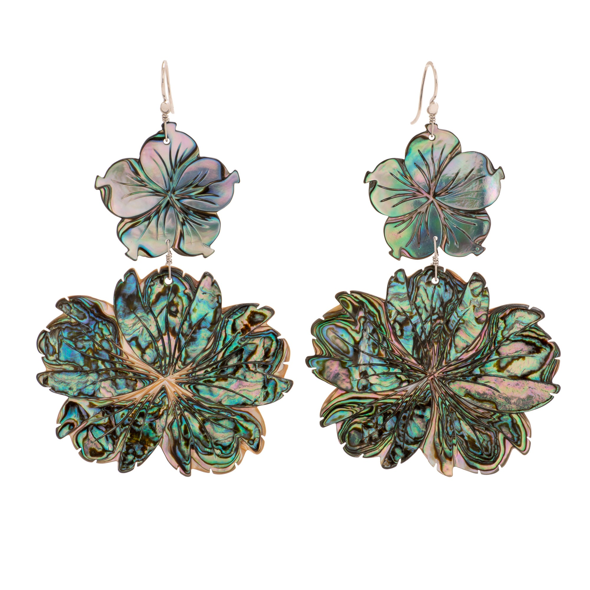 Chrysanthemum ii abalone earrings