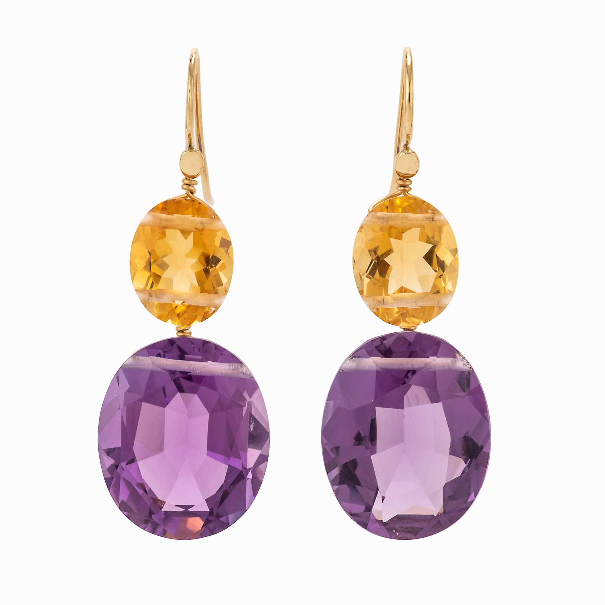 Oval II amethyst earrings