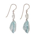 Tear oval ii aquamarine earrings