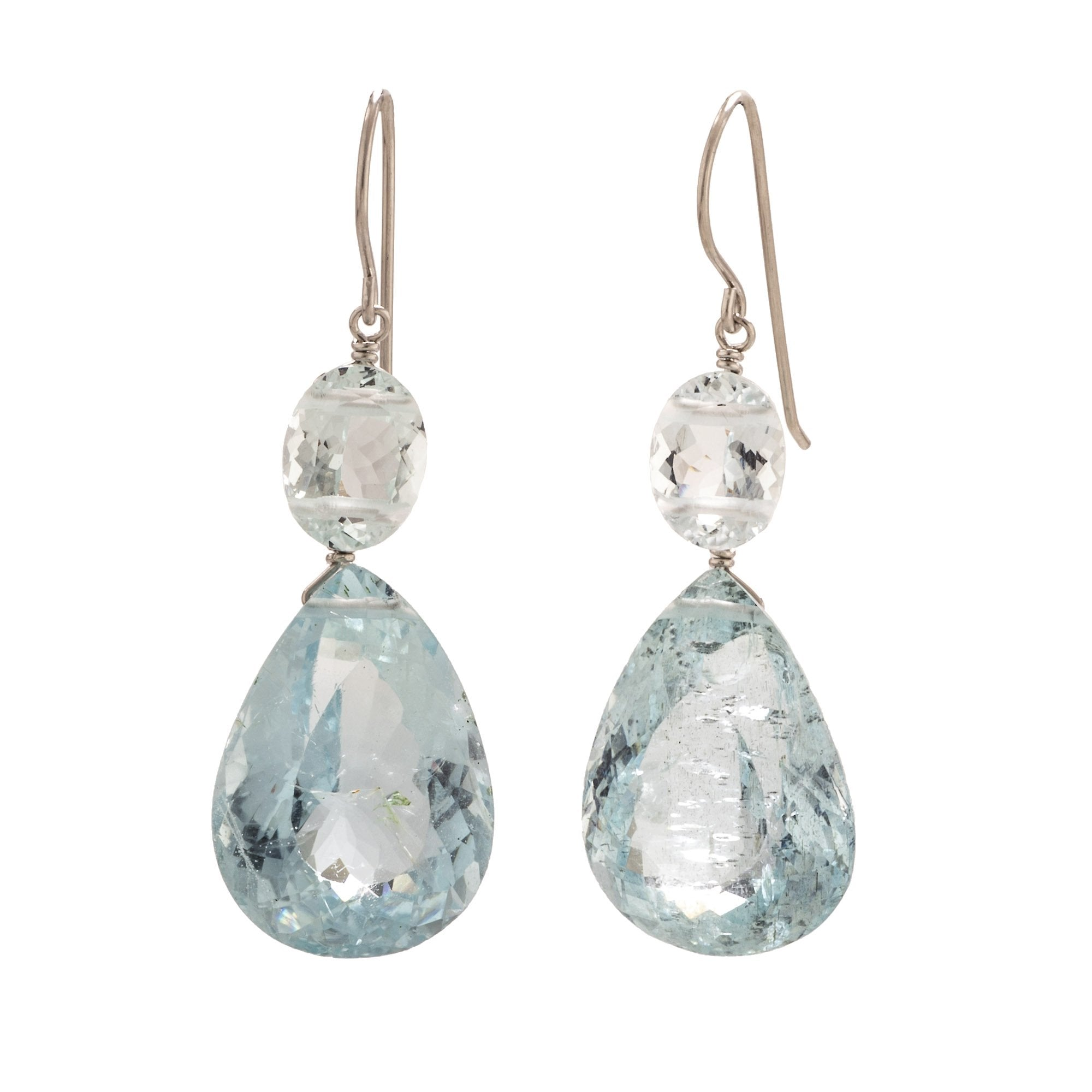 c4263d400 These aquamarine earrings have a wonderful soft denim blue color.