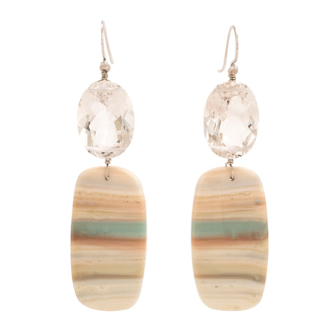 Saturn ii chalcedony earrings