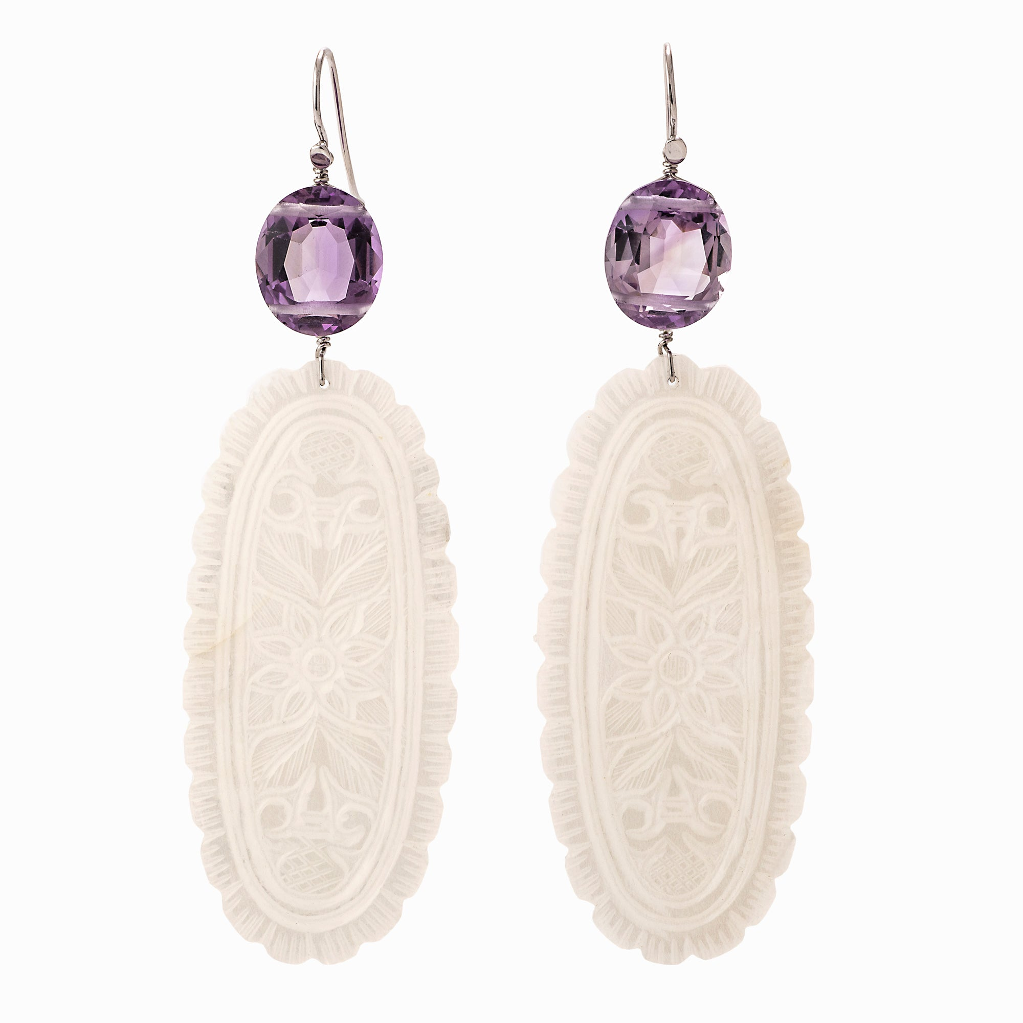 Pale ii jade amethyst earrings