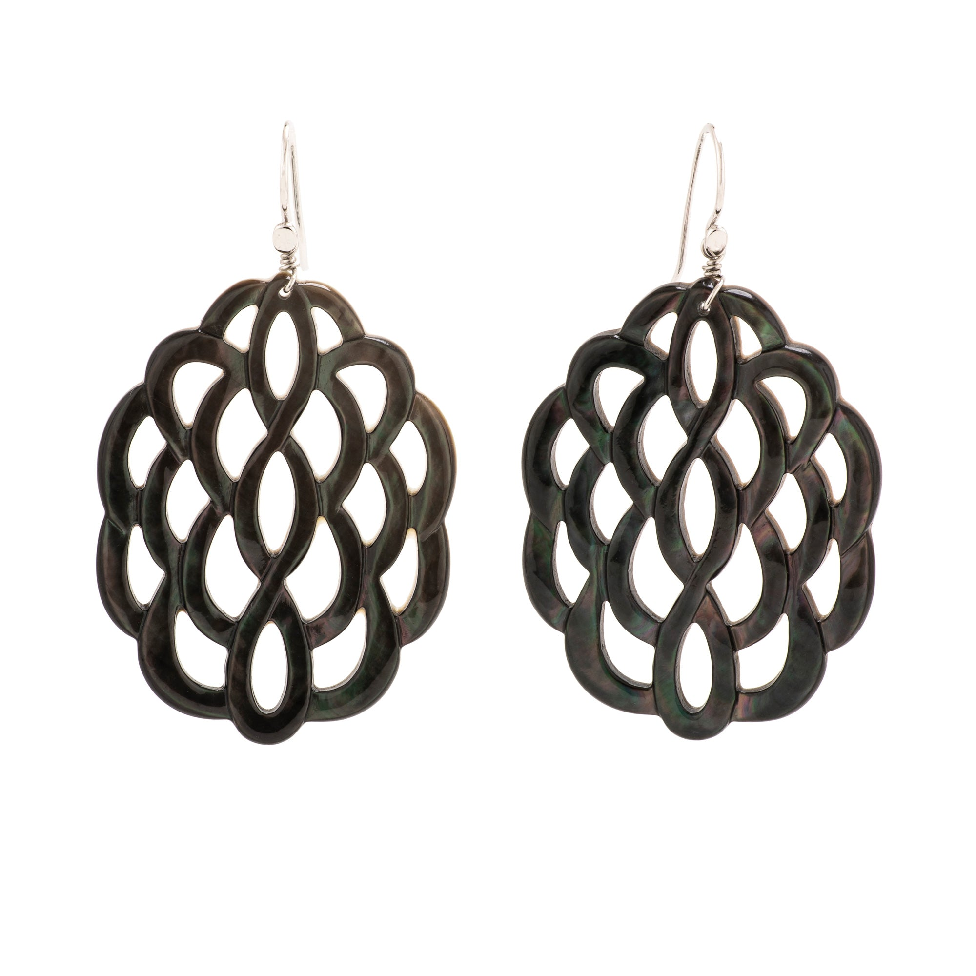 Black lattice I mother of pearl earring