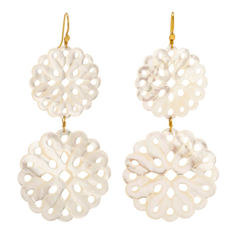 Lattice ii mother of pearl earring