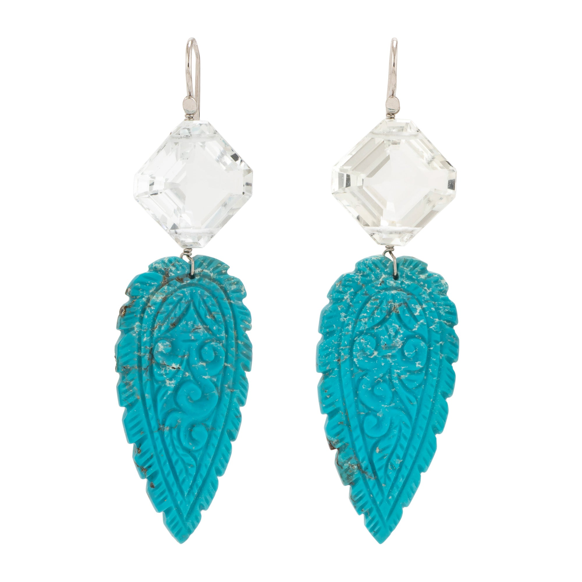 Carved ii turquoise earrings