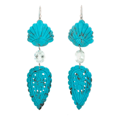 Carved iii turquoise earrings