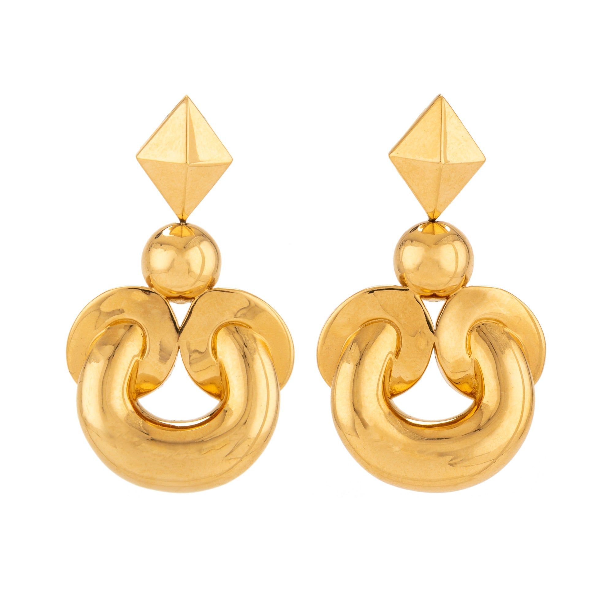 Twist v gold earring