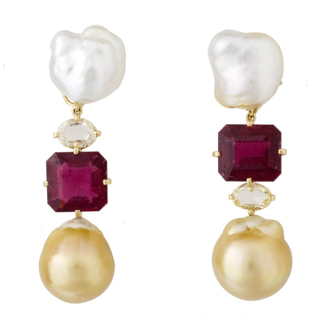 Pearl iv diamond tourmaline earrings