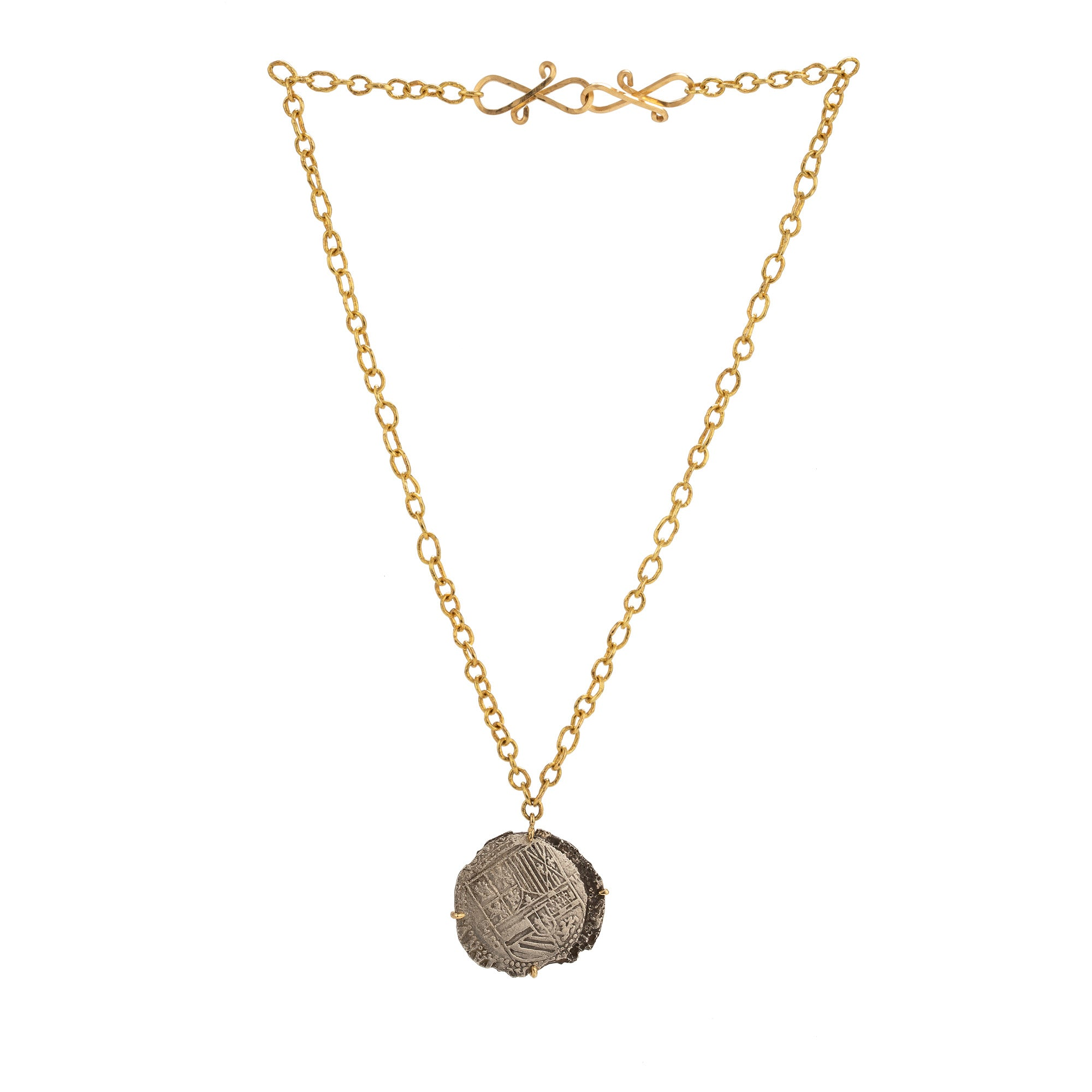 shipwreck i silver coin necklace