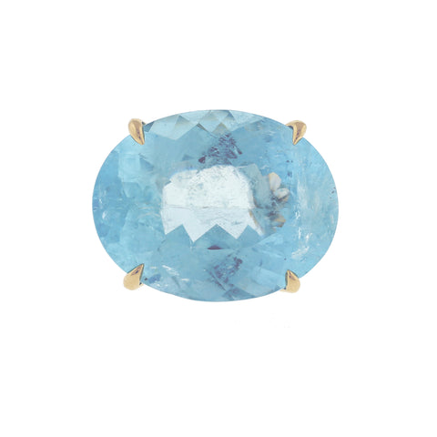 Denim oval aquamarine twist ring