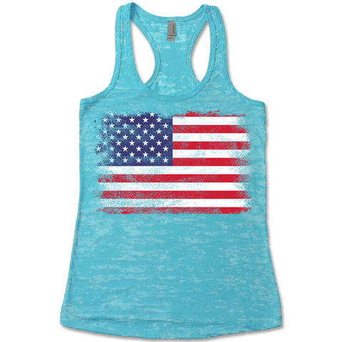 American Flag Burnout Tank Tops