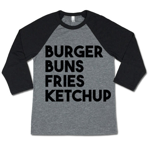 Burger Buns Fries Ketchup Baseball T-shirt