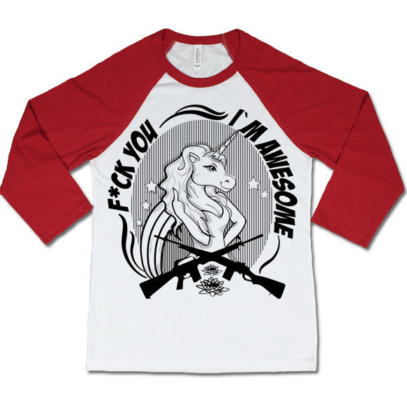 Offensive Unicorn Baseball T-shirt