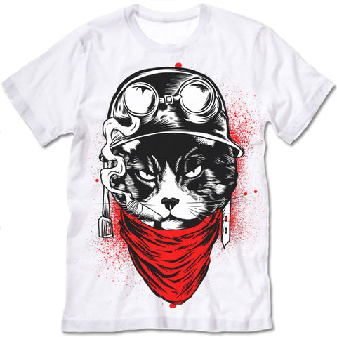 Badass Helmet Cat Warrior T-Shirt