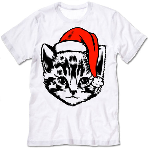 Cute Christmas Cat in a Hat T-Shirt