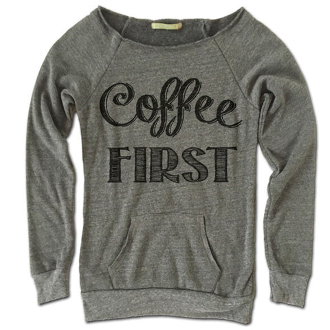 Coffee First Off Shoulder Sweater