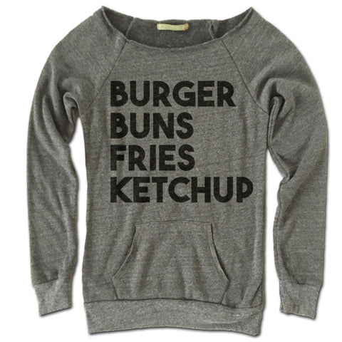 Burger Buns Fries Ketchup Off Shoulder Sweater