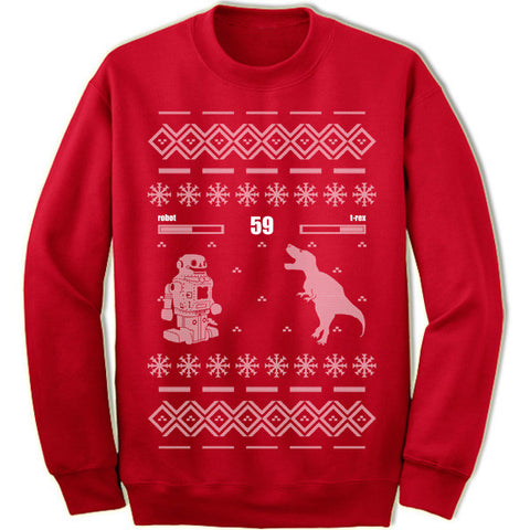 Robot vs T-Rex Christmas Sweater