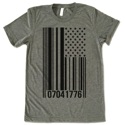 American Flag Barcode T Shirt