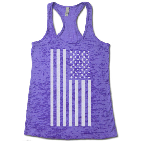 American Flag - Racerback Burnout Tank Top