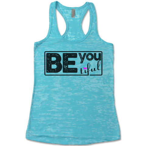 Be-You-Tiful - Racerback Burnout Tank Top
