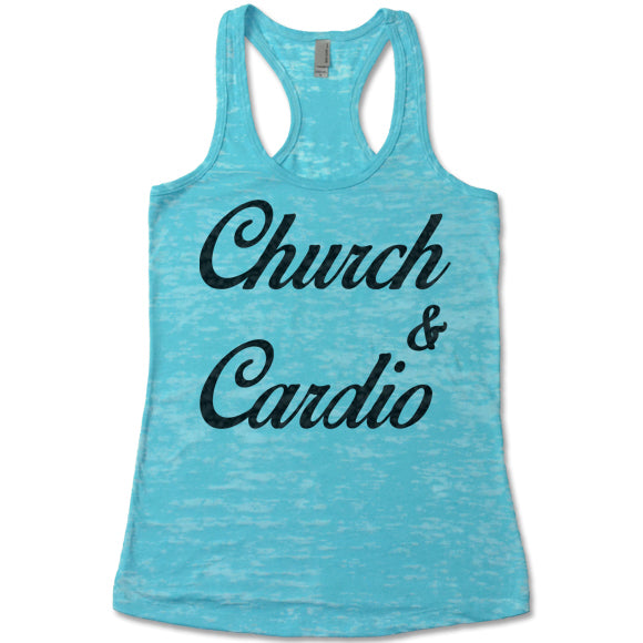 bc0ca954133e63 Church And Cardio - Racerback Burnout Tank Top – Gifted Shirts
