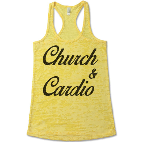Church And Cardio - Racerback Burnout Tank Top