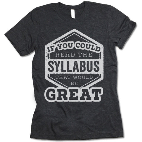 If You Could Read The Syllabus That Would Be Great Shirt