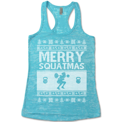 Merry Squatmas - Racerback Burnout Tank Top