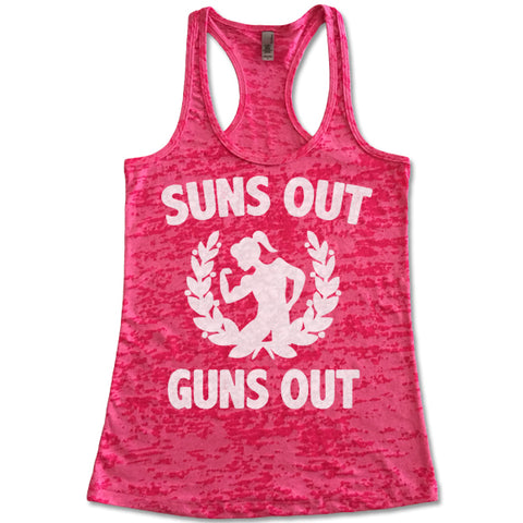 Suns Out Guns Out - Racerback Burnout Tank Top