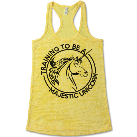 Training To Be A Majestic Unicorn Burnout Tank Top