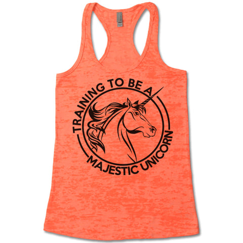 Training To Be A Majestic Unicorn - Racerback Burnout Tank Top