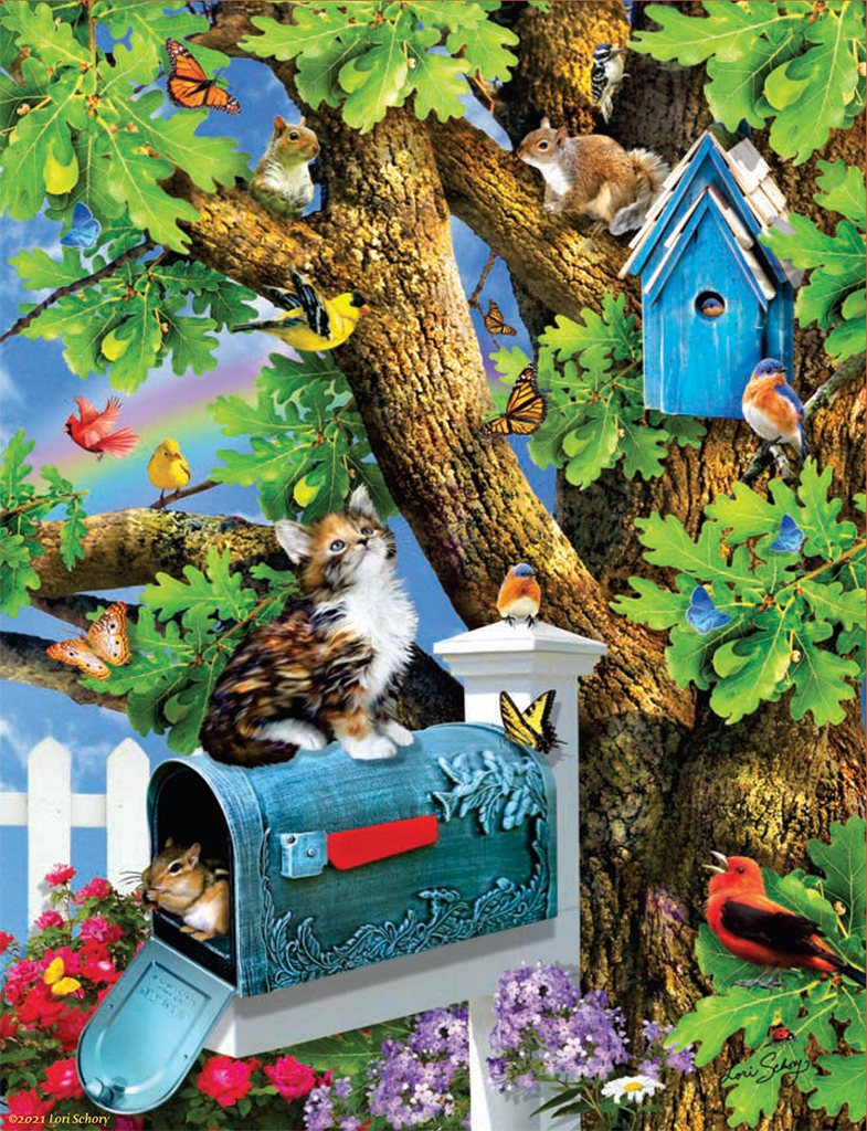 Puzzle - Kitty and Birdhouse 1000 Pieces