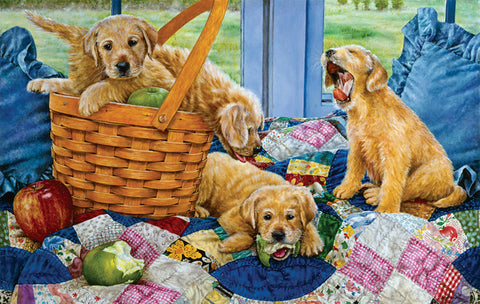 Puzzle - Puppies in a Basket 550 Pieces