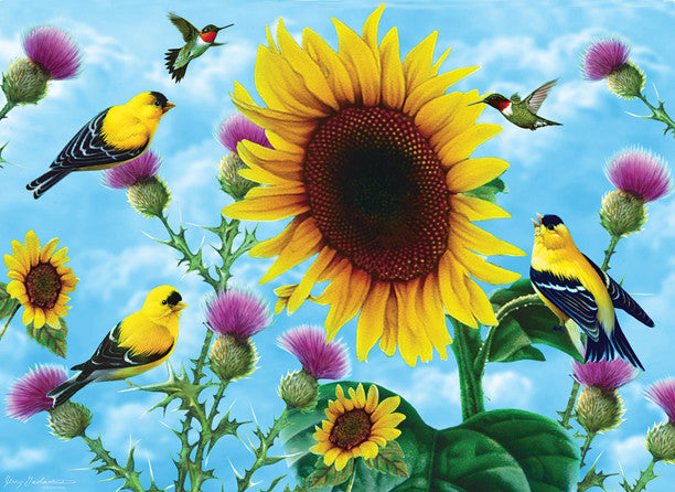 Puzzle - Sunflowers & Songbirds 500+ Pieces - SunsOut - Jules Enchanting Gifts