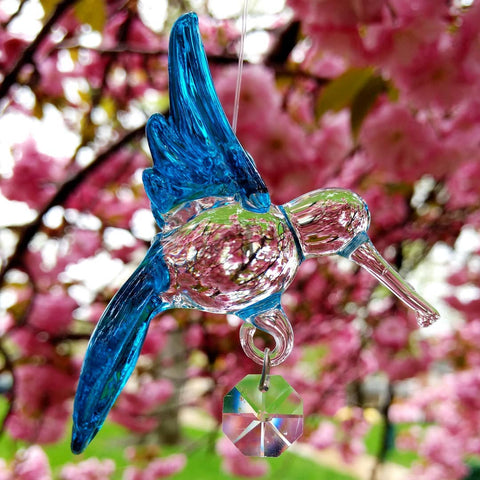 Glass Hummingbird - Turquoise with Crystal