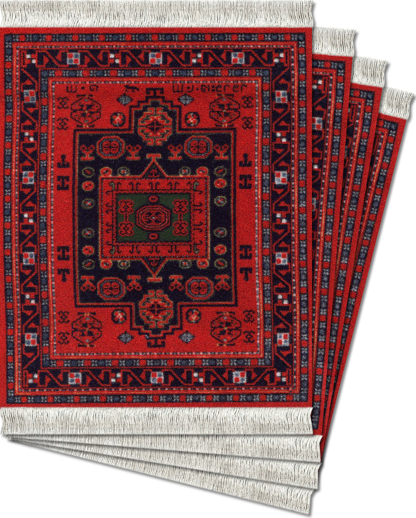 Agra Kazak - 4-pc CoasterRug® Set - MouseRug - Jules Enchanting Gifts