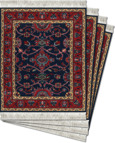 Deep Blue Bergamo - 4-pc CoasterRug® Set - MouseRug - Jules Enchanting Gifts