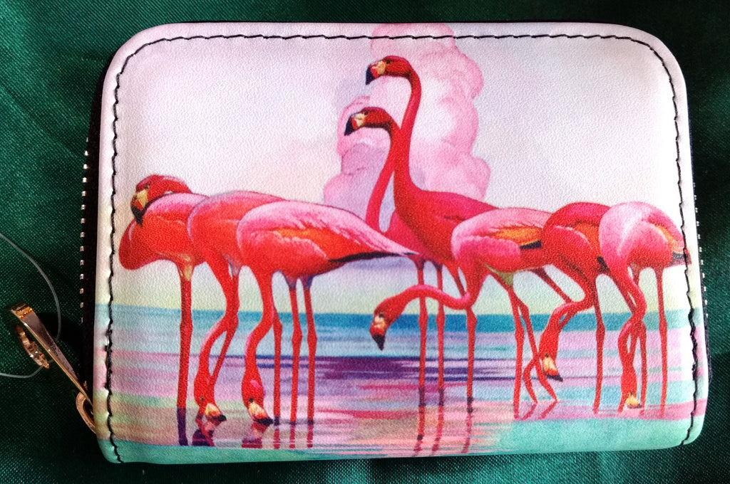 RFID Zipper Wallet - Flamingo