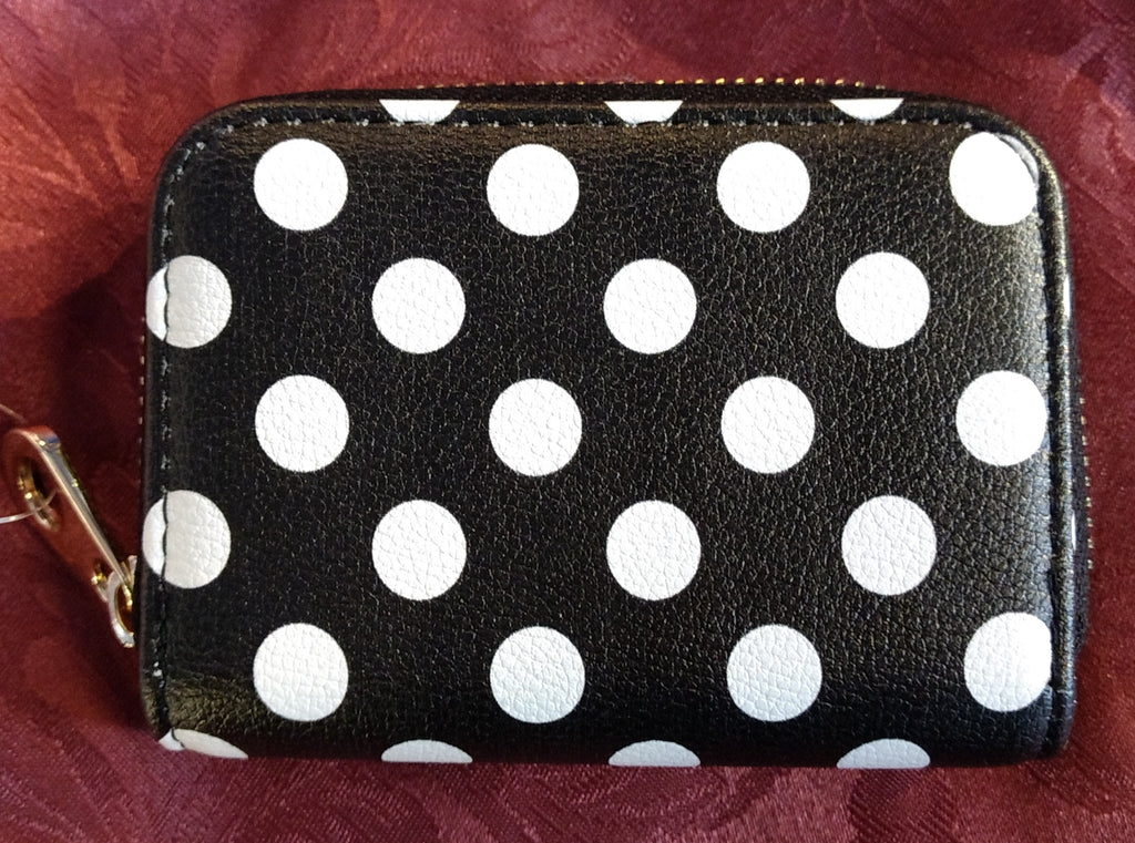RFID Zipper Wallet - Polka Dot Black & White