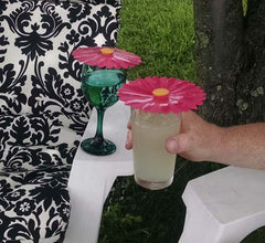"Pink Daisy Drink Covers 4"" Set of 2 - Charles Viancin - Jules Enchanting Gifts"