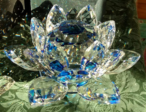 Medium Blue Crystal Lotus with 40mm Crystal Ball