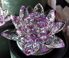 Large Purple Crystal Lotus with 50mm Crystal Ball