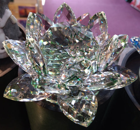 Extra-Large Green Crystal Lotus with 60mm Crystal Ball