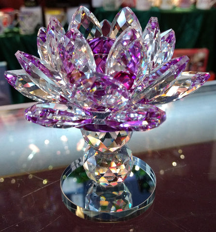 Pedestal Medium Purple Crystal Lotus with 40mm Crystal Ball